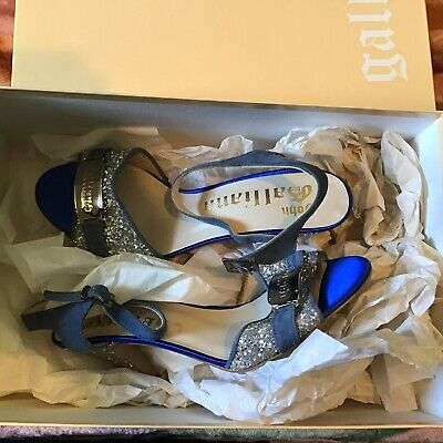 Ladies Designer Shoes - John Galliano Blueish Suede With Glitters 6/39