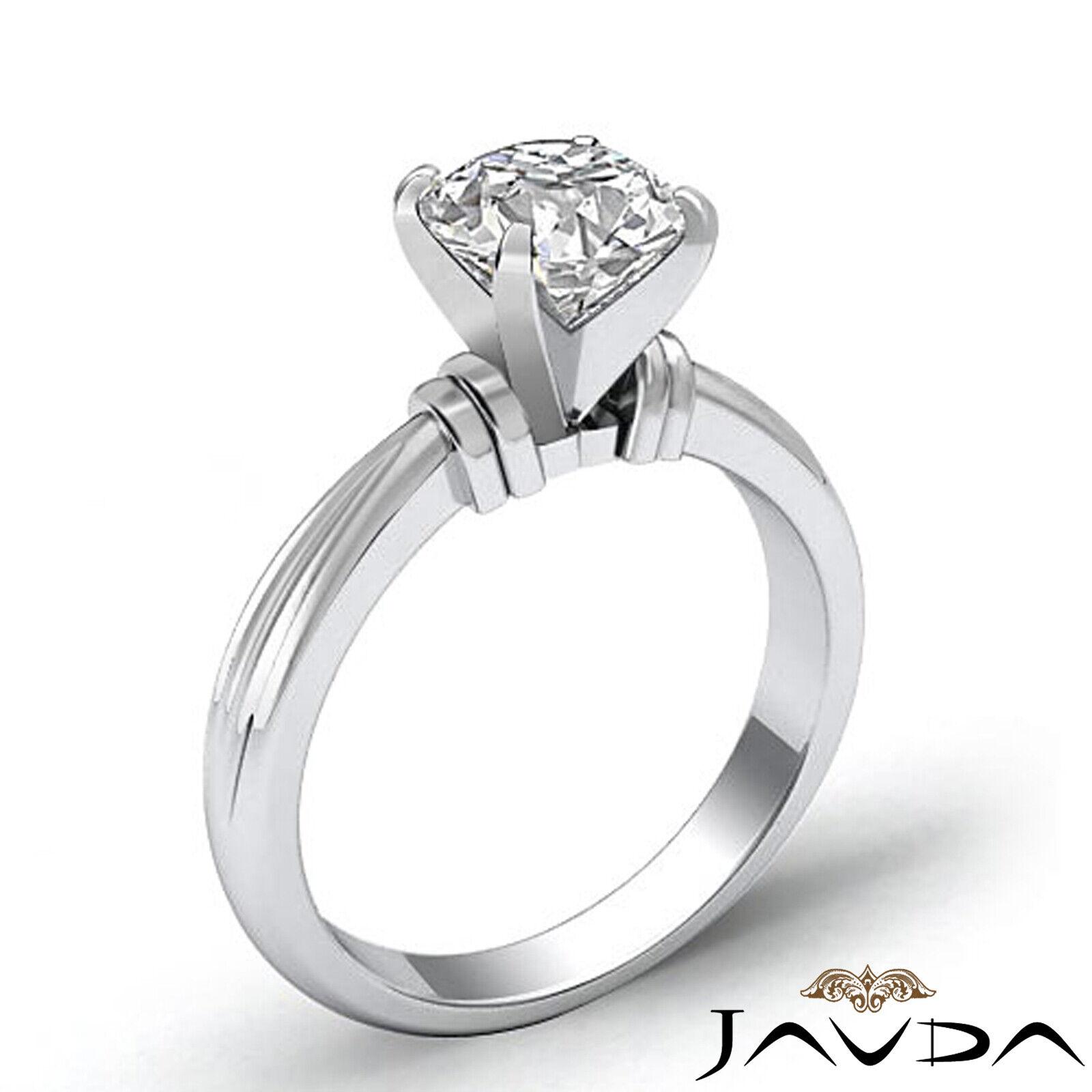 Round Solitaire Natural GIA H Color VVS2 Diamond Women's Engagement Ring 1 ctw. 2