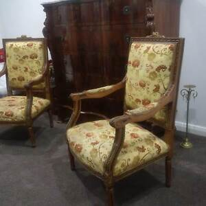 Vintage French Armchairs. Antique Silver Epergne. French Clock Pitt Town Hawkesbury Area Preview