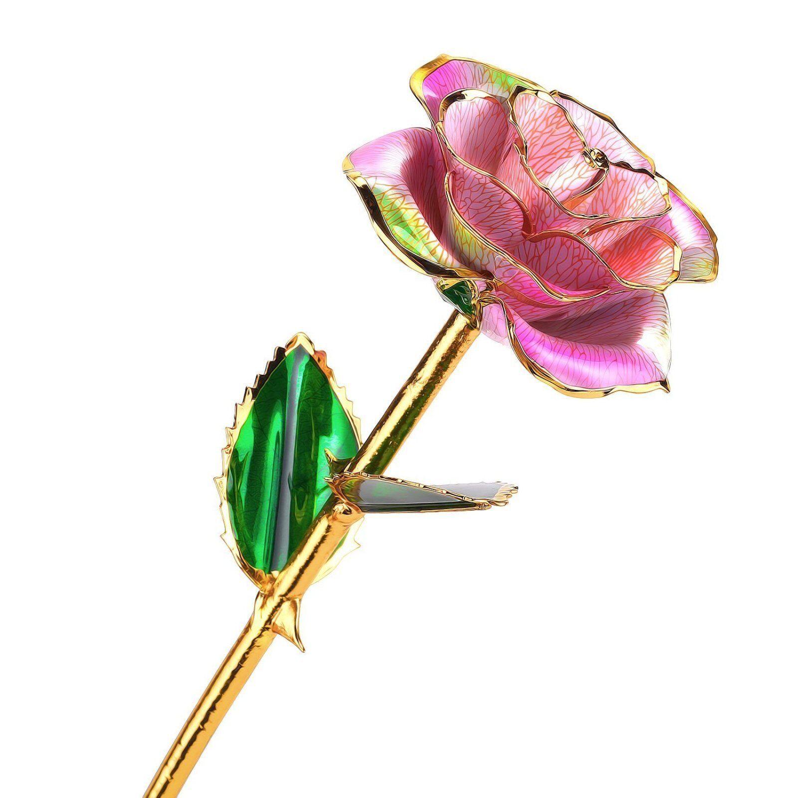 24k Gold Dipped Rose Flower Long Stem Birthday Anniversary Women