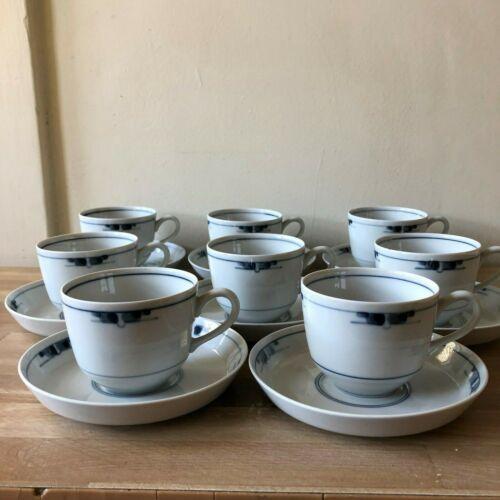 Lovely Royal Copenhagen Gemina Set of 8 Cups & Saucers Midcentury Modern