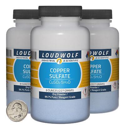 Copper Sulfate 1.5 Pounds 3 Bottles 99.7 Pure Reagent Grade Dry Powder