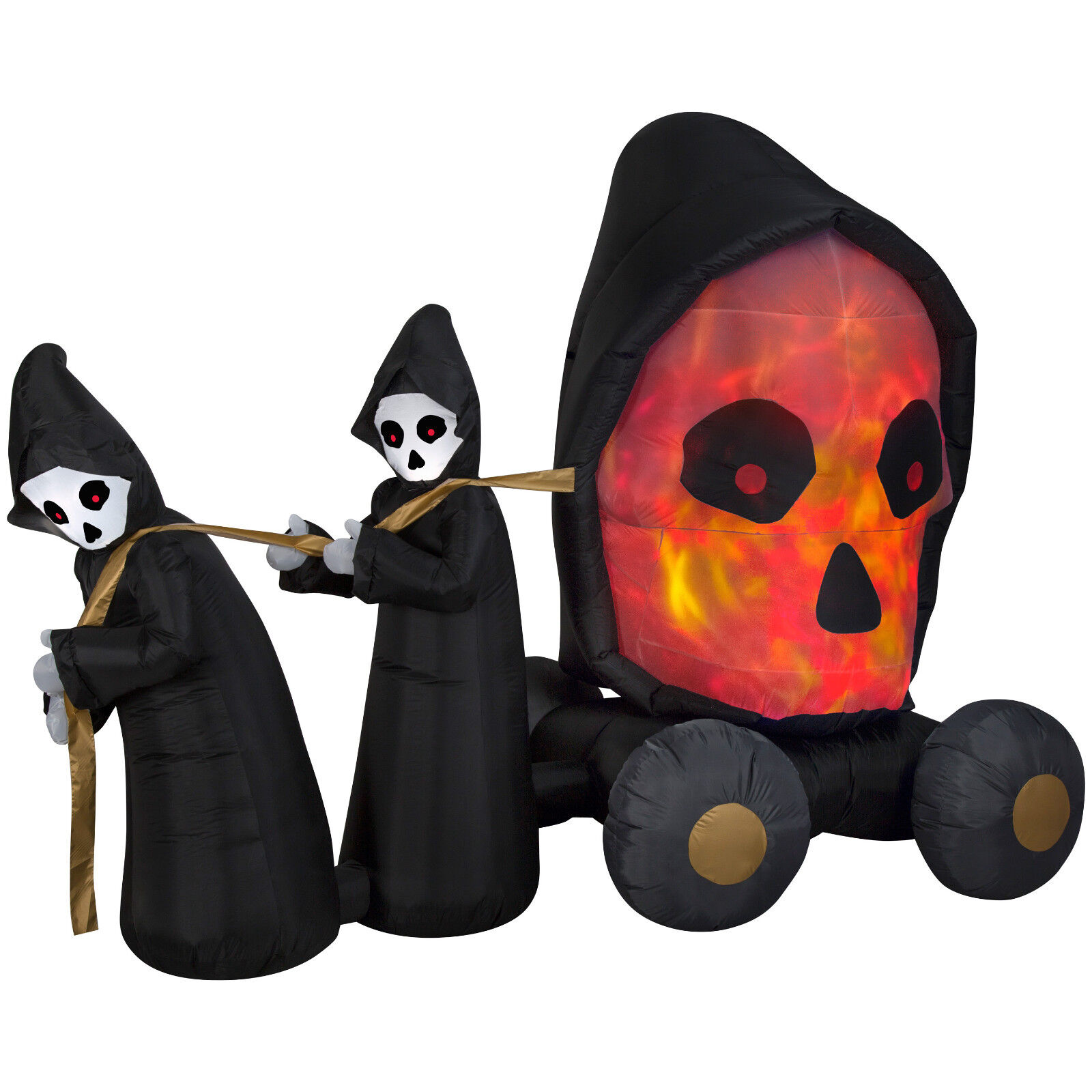 Halloween Fire & Ice Grim Reaper Carriage Skull Inflatable Airblown Yard Decor