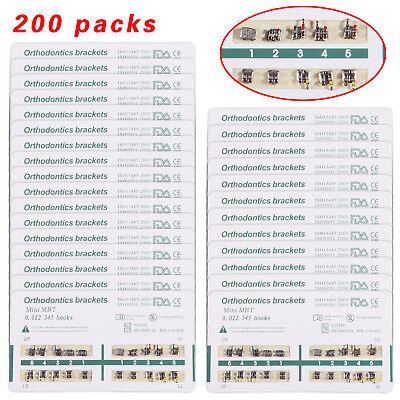 200 Packs Dental Orthodontic Brackets Mini Mbt 0.022 345hooks 7 Lots