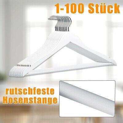 1-100 Stück Kleiderbügel mit rutschfestem Hosensteg und Kleiderhaken Holz weiß ()