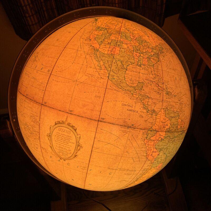 """Vintage Replogle Heirloom 16"""" Floor Globe Stand Illuminated - Works! Rare!"""