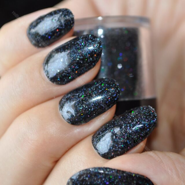 Holographic Black Nail Art Glitter DIY Manicure Supplies Laser ...