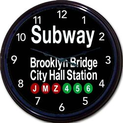New York City Brooklyn Bridge City Hall Station Subway Sign Wall Clock New 10