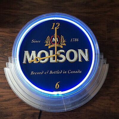Vintage Molson Neon Beer Sign Clock Blue Light Bar Decor Man Cave