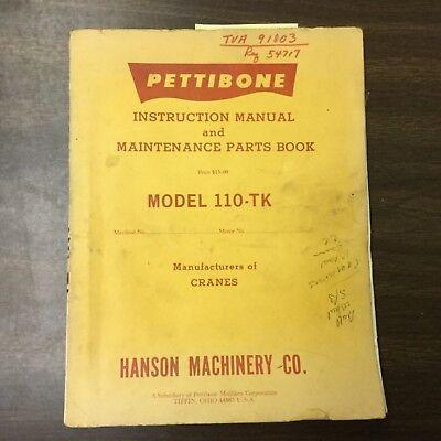 Pettibone 110-tk Truck Crane Instruction Manual Maintenance Parts Book Guide