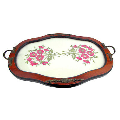 Serving Tray with a glass covered embroidered floral design centre