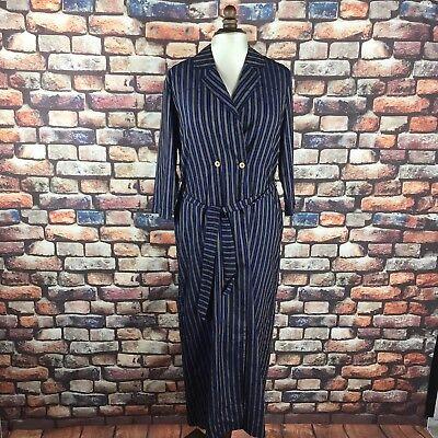 King and Tuckfield Woman's Indigo Long Wrap Dress Stripe RRP £230 Extra Small