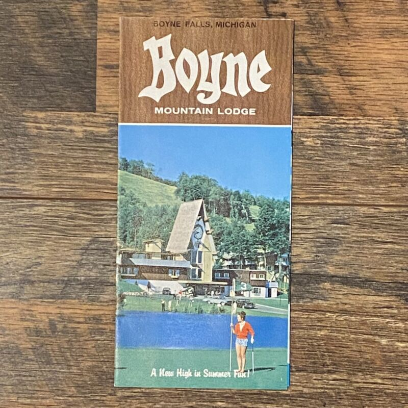 Boyne Mountain Lodge Boyne Falls Michigan Vtg 1960s Brochure Charlevoix County