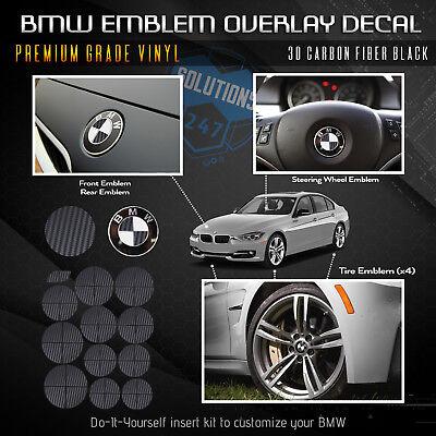 BMW ALL Emblem Overlay Sticker Decal Hood Trunk Wheels Steering 3D Carbon Fiber