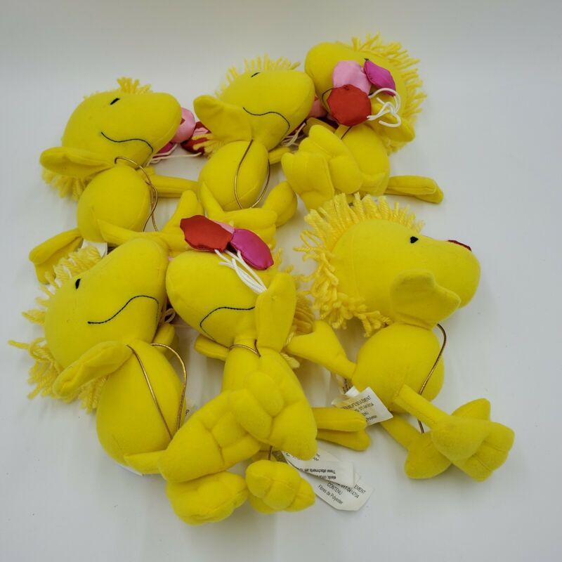 "Lot of 6 Woodstock Peanuts Plush Valentine Edition 8"""