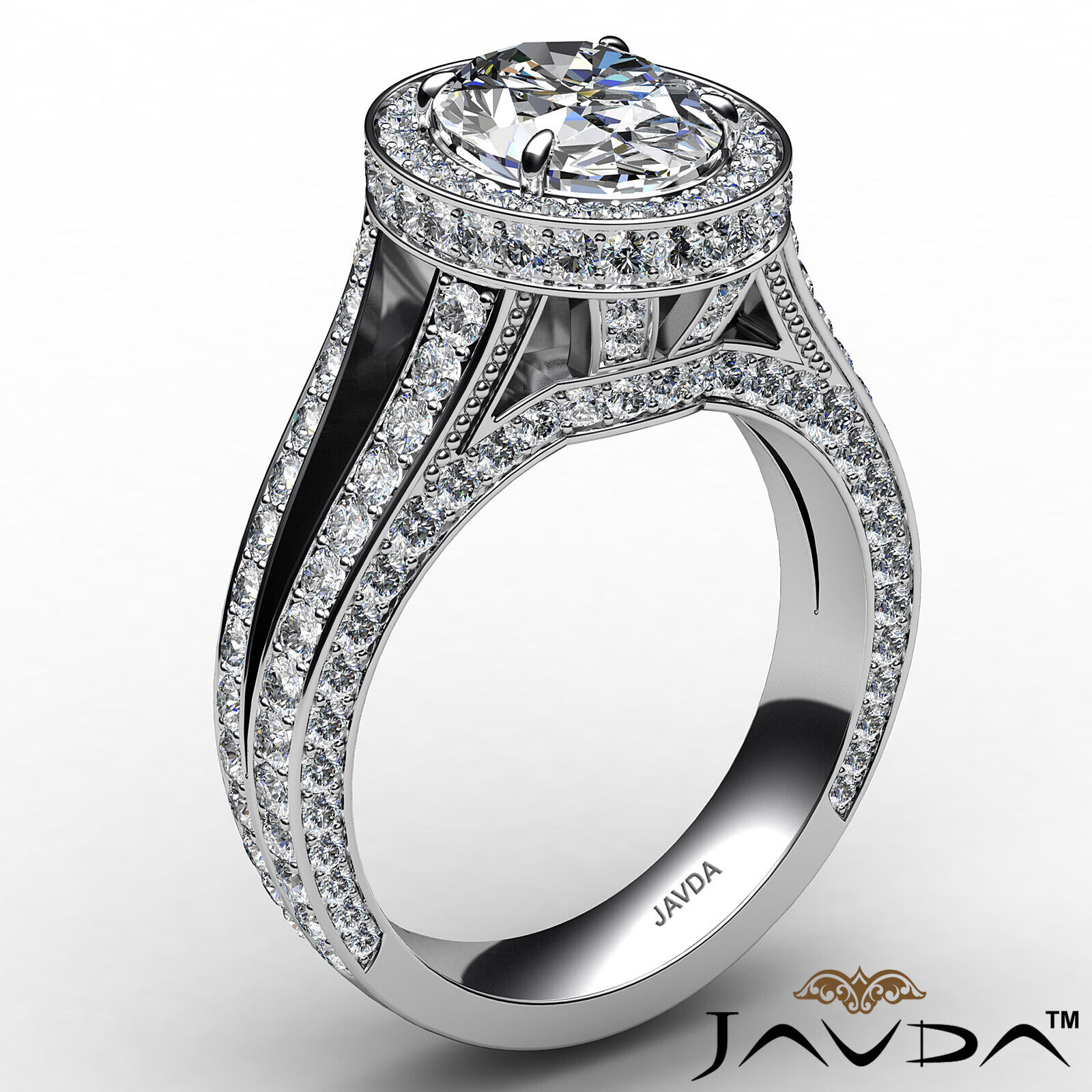 Halo Oval Diamond Engagement Ring GIA Certified F Color & SI1 clarity 2.31 ctw 3