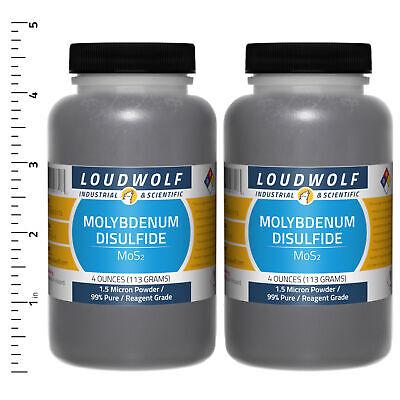 Molybdenum Disulfide 8 Oz Total 2 Bottles Reagent Grade 1.5 Micron Powder