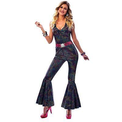 Disco Queen Halloween (Rainbow Disco Diva Dancing Costume Queen Fancy Dress Womens Halloween Outfit)