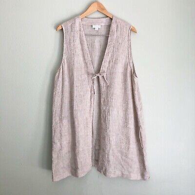 J. Jill Pure Womens Linen Duster Tunic Vest XL Woven Tan Sleeveless Tie Front Womens Duster
