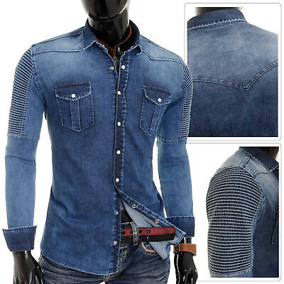 Men's Ribbed Denim Shirt Stretchy Blue Thick Fabric Clips Poppers Cotton Slim -