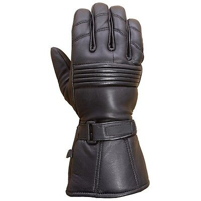 Premium Leather Long Gauntlet Motorcycle Biker Riding Winter Gloves Black G12](Gauntlet Gloves)
