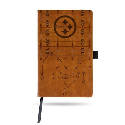 PITTSBURGH STEELERS LASER ENGRAVED BROWN NOTEPAD WITH ELASTIC BAND JOURNAL -