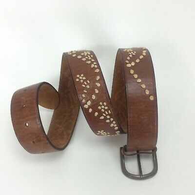Abercrombie & Fitch Belt Medium Brown Leather Ivory Jute Studs