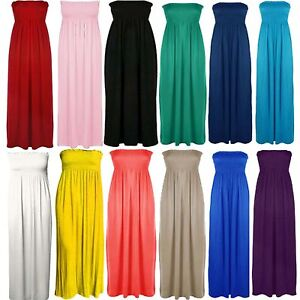 Womens-Plus-Size-Sheering-Boobtube-Bandeau-Long-Jersey-Strapless-Maxi-Dress-8-26