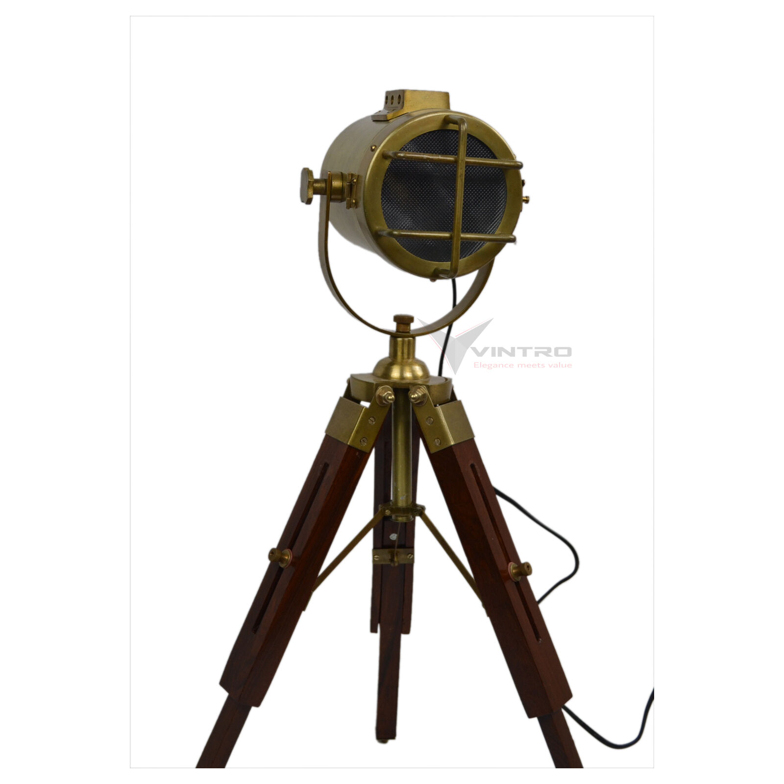 Brass tripod nautical table lamp spot light wooden floor lamp aud picclick au - Tripod spotlight lamp ...