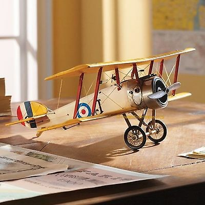 "WWI AIRPLANE 15"" WOODEN DESKTOP MODEL SOPWITH CAMEL ACE BIPLANE FIGHTER PLANE"