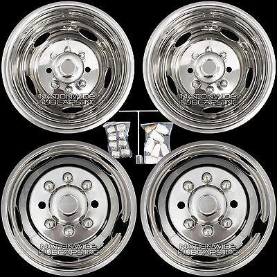 """Chevy 3500 17"""" 8 Lug Dually Wheel Simulators Dual Rim Deep Dish Covers Hub Caps"""