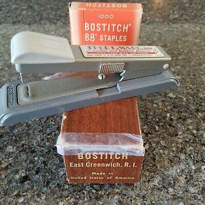 Vtg Bostitch B8 Stapler Office Gray Company Marketing Gift Box And Staples