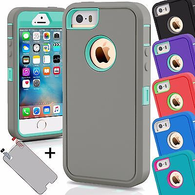 Shockproof Hybrid Rugged Skin Hard Armor Case Cover For Apple iPhone 5C 5 5S SE