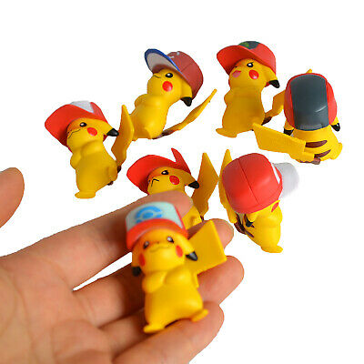 Set of 7 Pokemon Pikachu w Baseball Cap Toys Figures Party Favor Figurines Kit