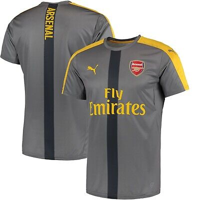 Puma Arsenal FC Official 2017 - 2018 Soccer Training Jersey  Steel Gray / Yellow