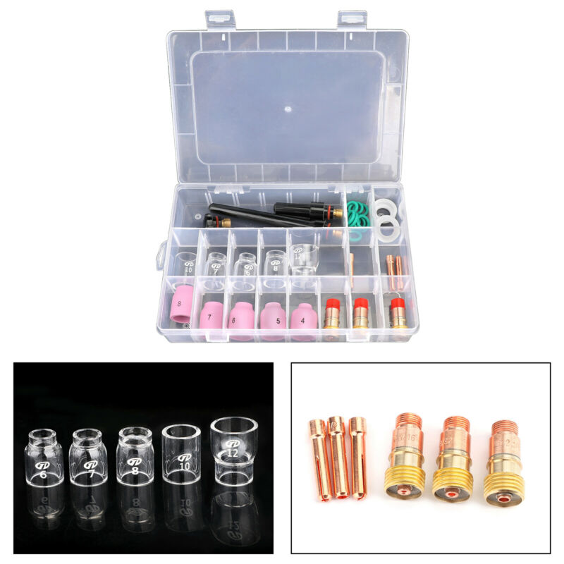 31Pcs TIG Welding Torch Stubby Gas Lens #12 Pyrex Glass Cup Kit For WP-17/18/26