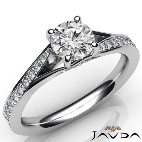 1.07ct Pave Set Round Diamond Classic Engagement Ring GIA F VS1 14k White Gold