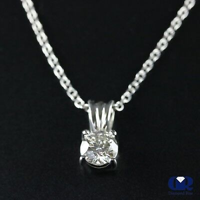 0.80 Ct Round Cut Diamond Solitaire 4 Prong Pendant Necklace 14KWG W/16