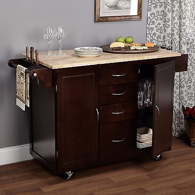 Kitchen Cart Rolling Island Storage Cabinet Drawer Shelf Wood Table Portable Bar