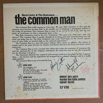 HOVIE LISTER & THE STATESMEN The Common Man Skylite 1970 LP Signed Autographed