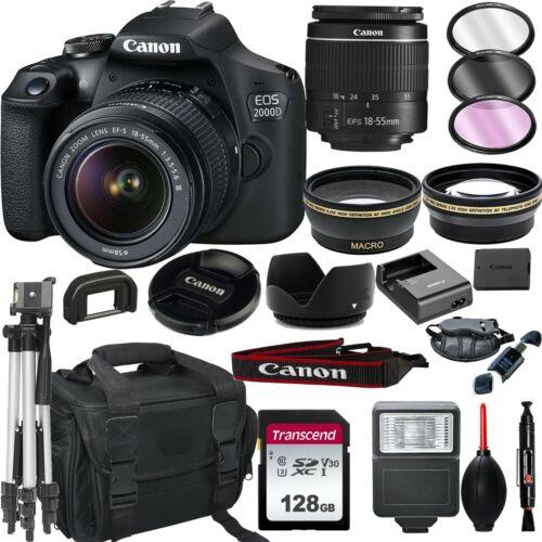 Canon EOS 2000D / Rebel T7 DSLR Camera + EF-S 18-55mm Lens+ 128GB Bundle +More