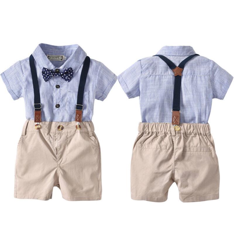 Baby Jungen Gentleman Anzug Romper Top Shorts Hose Hochzeit Taufanzug Festanzug