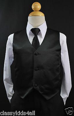 Infant Toddler Teen BLACK Satin VEST + NECK TIE Set for Suit Tuxedo Sz 2T-14](Black Suits For Toddlers)