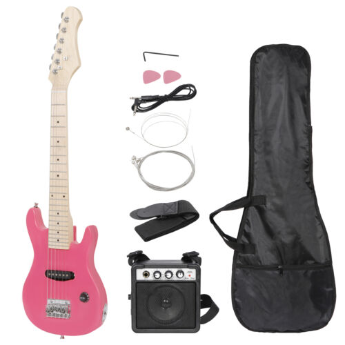 Pink 30″ Kids Child with 5 Watt Amp Gig Bag Case Electric Guitar 6 String Electric Guitars