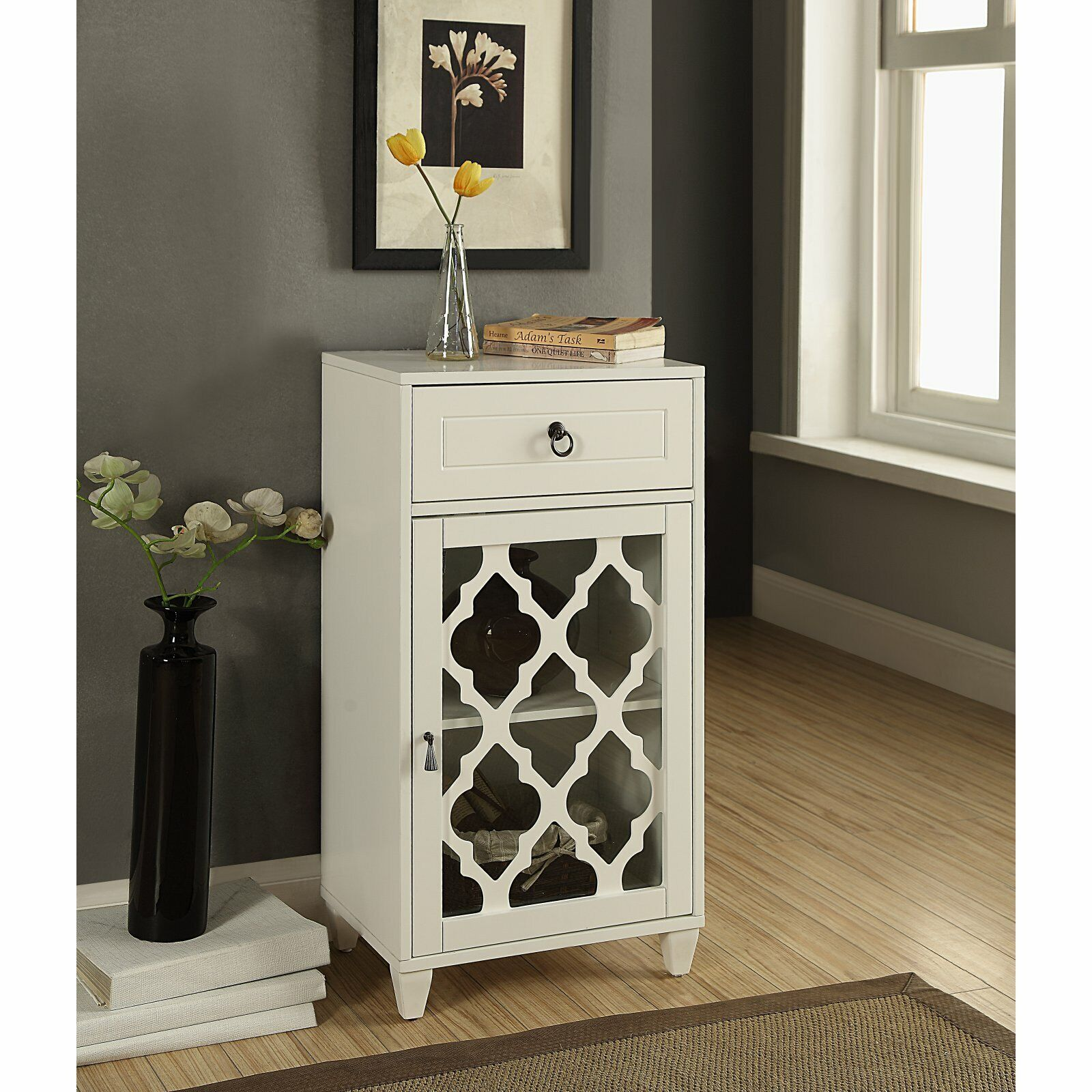 Floor Cabinet Night Stand Small White Wood With Glass Doors Top