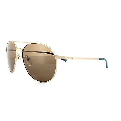 00b53cd028 Police Sunglasses S8953 Rival 2 648P Polished Gold Brown Polarized