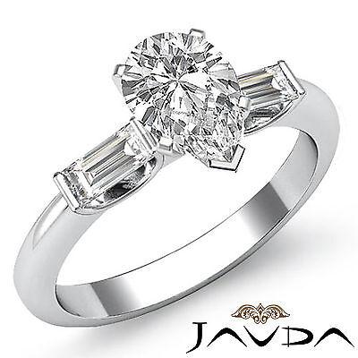 Brilliant Pear Cut Diamond 3 Stone Engagement Ring GIA I SI1 Platinum 950 1.3 ct
