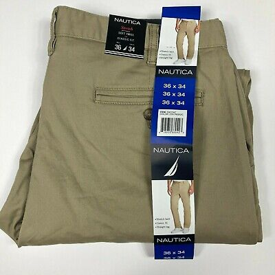 NAUTICA Men's Stretch Soft Twill Classic Fit Pants - 36x34  KHAKI  NWT