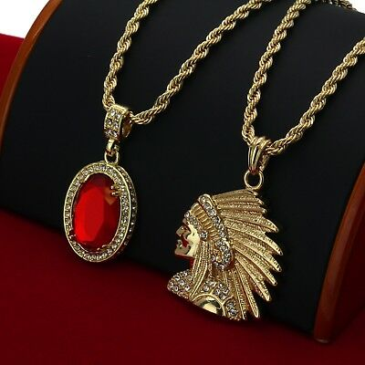 Mens Gold P. Indian Head & Red Ruby Bundle Set Pendant Hip Hop 24
