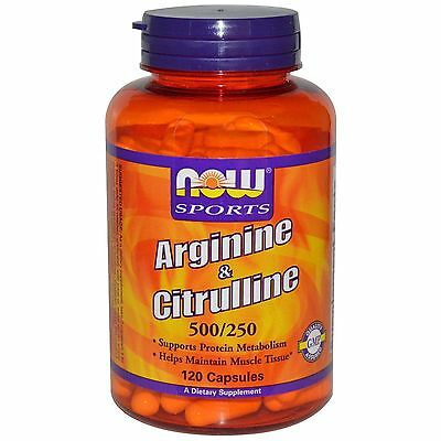 Now Foods Arginine & Citrulline 500/250 120 Capsules Maintain Muscle 5/20 Exp